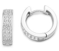 Damen-Creolen 925 Sterling Silber 22 Zirkonia farblos 14.5 mm MSM213E