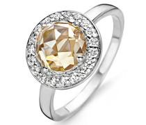 Damen-Ring 925 Silber rhodiniert Zirkonia beige Rundschliff