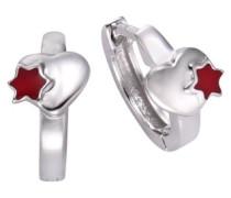 Kinder und Jugendliche-Creolen 925 Sterling Silber Klapp Herz mit Stern Lack rot 273210931R