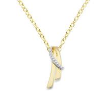 Damen-Halskette 9 Karat (375) Gelb-/Weißgold Anhänger mit Brillanten 45cm Kette MIN906N