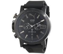 Puma Time Herren-Armbanduhr PU-ULTRASIZE 50 S CHRONO 100% BLACK Chronograph Quarz Silikon PU103981002