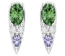 -  18 k (750)  Weißgold Ovalschliff   grün Tsavorite Lolite Diamant