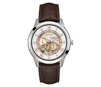 Automatic 96A172 - Herren Designer-Automatikuhr - Armband aus Leder - Zifferblatt in Weiß und Roségoldfarben