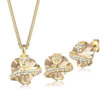 Damen-Schmuckset Silber mit Swarovski Kristallen vergoldet Länge 45cm 0901741713_45