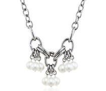 Damen-Halskette Edelstahl Perle 45 cm