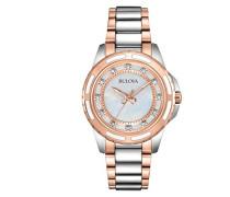 Damen-Armbanduhr Ladies Diamond Analog Quarz Edelstahl beschichtet 98P134