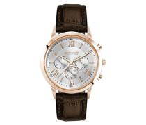 Herren-Armbanduhr Chronograph Leder Braun JGS3580