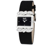 -Damen-Armbanduhr 800 2H SS END PIECE WITH STONES BLACK DIAL DW0493