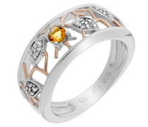 Damen-Ring Silber vergoldet teilvergoldet Zirkonia gelb Brillantschliff