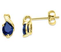 Miore Damen-Ohrstecker 375 Gelbgold Saphir blau Tropfenschliff