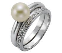 Pearls Damen Ring 925 Sterling Silber rhodiniert Süßwasserzuchtperle Zirkonia weiß