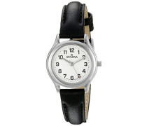 3207.1933 women'Quarz-Uhr mit weißem Zifferblatt Analog-Anzeige und schwarzem Lederarmband 3207.1933