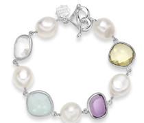 Armband Juwel Sterling-Silber 925 verschiedene Edelsteine Süßwasserperle T-Verschluss 20,5cm