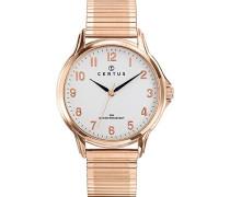 –617020–Armbanduhr–Quarz Analog–Weißes Ziffernblatt–Armband Stahl Rosa
