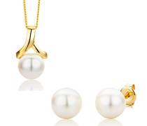 Damen-Set: Halskette + Ohrringe Süßwasser-Zuchtperlen 9 Karat 375 Gelbgold MSET007