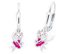 Kinder-Ohrhänger Mädchen Maus emailliert 925 Sterling Silber rhodiniert Emaille