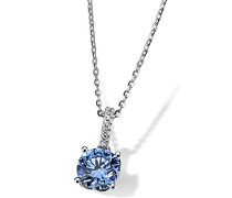 Damen Halskette Arctic Blue 925 Sterling Silber gesetzt mit 7 weißen und einem blauen Zirkonia 45cm Kettenanhänger Schmuck