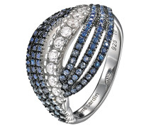Damen-Ring 925 Sterling Silber rhodiniert Glas Zirkonia Onde blau