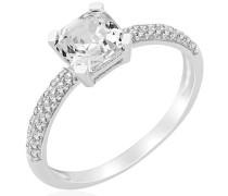 Miore Damen-Ring 925 Sterling Silber Solitär Prinzessschliff Zirkonia Gr. 56 (17.8) MPS058R6