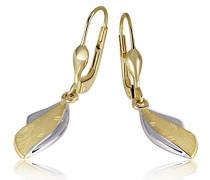 Damen-Ohrringe 333 Gelbgold Bicolor matt glänzend Schmuck