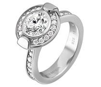 Damen-Ring 925 Sterling Silber rhodiniert Glas Zirkonia Royale weiß