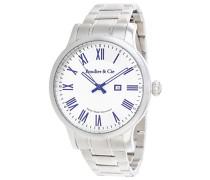 Quartz Armbanduhr von  für Männer mit Original Schweizer Uhrwerk mit Weißem Zifferblatt Analoger Anzeige und Silberfarbenem Armband aus Edelstahl Datumsanzeige BSSM210