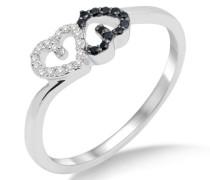 Damen-Ring 750 Weißgold mit Herzen Brillanten Weiß und Schwarz