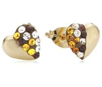 Crystelle Damen-Ohrstecker Herz mit multifarbenen Swarovski Kristallen 340320134