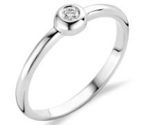 18 Karat (750) Weigold 58 (18.5) Damenring, mit 1 (0,06 cts) Diamant M0615WR