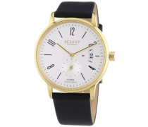Herren-Armbanduhr XL Analog Quarz Leder 11100233