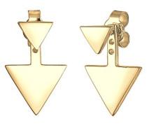 Damen-Ohrringe Ohrstecker Ear Jacket Dreieck Geo Trend Ohrschmuck Basic vergoldet silber 925