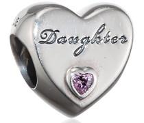 Damen-Bead Daughter-Herz 925 Silber Zirkonia rosa - 791726PCZ