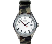 Timex-t2N222d-Originals-Armbanduhr-Quarz Analog-Weißes Ziffernblatt-Armband Nylon beige