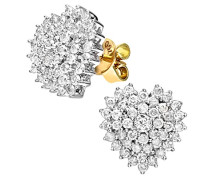 Damen-Ohrstecker 18k herzförmige Cluster Ohrringe 750 Gelbgold teilrhodiniert Diamant (1.00 ct) weiß Rundschliff - PE03472 18KY