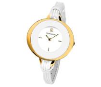 034K500Damen-Armbanduhr–Quarz Analog–Weißes Ziffernblatt–Armband Leder Weiß