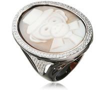Damen-Ring Muschel Schwarz Ovalschliff - Größe 58 (18.5)