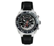 Herren-Armbanduhr XL Chronograph Quarz Leder A14678G