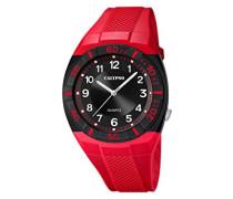 Calypso Herren-Quarzuhr mit schwarzem Zifferblatt Analog-Anzeige und Kunststoff Gurtband rot k5238/3