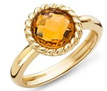 Damen-Ring 9 Karat ( 375 ) Gelbgold Citrin Quartz 2ct. Quarz orange Rundschliff