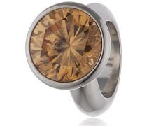 Damen-Bead Round Champagne Dome 925 Silber Zirkonia beige - 41158-3