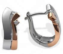 Creolen Weiss u. Rotgold 585 Bicolor 8 Diamanten Pa O4264RG Ohrringe Brillanten Schmuck
