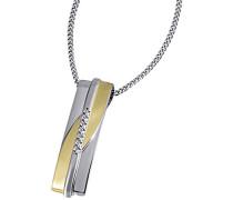 Damen-Halskette 925 Sterlingsilber vergoldet 7 weiße Zirkonia Kettenanhänger Schmuck