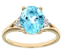 Damen-Ring 9 K Gelbgold P1 Diamant Topas blau
