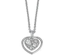 Damen Halskette 925 Sterling Silber rhodiniert Glas Zirkonia Le Coeur Brillant 42 cm weiß S.PCNL90457A420
