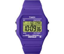 Timex-t2m891-T80Classic-Armbanduhr-Quarz Digital-Zifferblatt LCD-Armband Gummi Violett