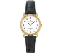 –646232Damen-Armbanduhr–Quarz Analog–Weißes Ziffernblatt–Armband Leder Schwarz