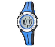 Unisex Armbanduhr Digitaluhr mit LCD Zifferblatt Digital Display und Blau Kunststoff Gurt k5682/1
