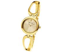 003003H542 Damen-Armbanduhr, Quarzuhrwerk, analog, goldfarbenes Zifferblatt, Armband aus goldfarbenem Metall