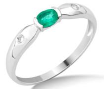 Damen-Ring Smaragd und 2 Brillanten 9 Karat 375 Weißgold