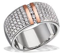Goldmaid Damen-Ring verbödet 925 Silber teilvergoldet Zirkonia weiß Brillantschliff Gr. 54 (17.2) - Pa R7380S54